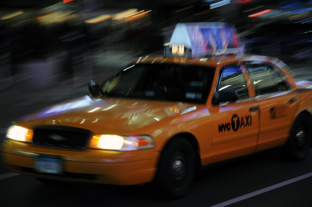 Yellow Cab in Times Square, NYC